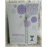 Einladung Einladungskarte Kommunion Konfirmation Blumen Taufe Kelch silber flieder