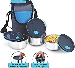 NanoNine Stainless Steel Lunch Box Set with Pouch, 250ml, Set of 4, Black