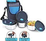 #10: NanoNine Air-Tight Stainless Steel Lunch Pack with Air-vent Lids, 250mlx4 with pouch