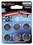 HyCell 6X CR2032 Batterie Lithium Knopfzelle 3V / Qualitativ Hochwertige Knopfbatterien/Ideal für Autoschlüssel Tan-Gerät Taschenrechner Kinderspielzeug Fernbedienung Uhren Etc.