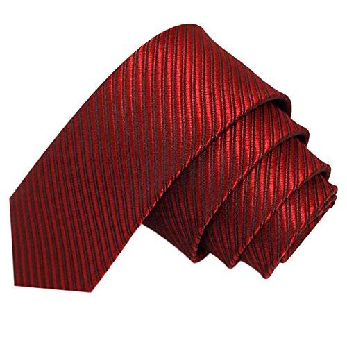 dünne 5cm Krawatte gestreift   Skinny Herrenkrawatte Rot zum Sakko Anzug   Schlips Binder einfarbig mit Streifen ()