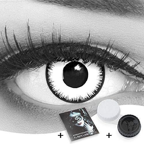 Farbige Kontaktlinsen 1 Paar weisse schwarze Lunatic Vampir mit schwarzem Rand 1 Paar. Topqualität zu Halloween, Fasching, Fastnacht, Karneval Halloween gratis Kontaktlinsenbehälter ohne Stärke