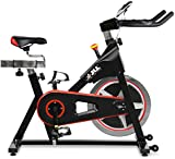 JLL IC300 Indoor Cycling Exercise Bike, Direct Chain Driven 18kg Flywheel with Adjustable Friction Resistance, 3-Piece Crank, 6-Function Monitor, Emergency Stop System, Ergonomic Handlebars with Heart Rate Sensors, Fully Adjustable Seat, Built In Wheels, 12 Months Home Use Warranty Only