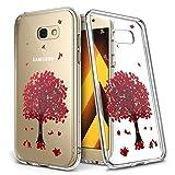 Moozy Samsung Galaxy A3 2017 Silikon Hülle Handyhülle Transparent Klar TPU Case Rote Kirschblüte Sakura Baum Echte Blume Blossom Design Cover