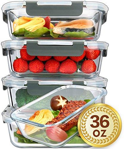 MCIRCO Glas-Frischhaltedosen 1040ml | 5er Set klick-It Dosen mit Deckel | Silikon Dichtungsring | Glasbehälter mit Deckel | Meal Prep Glas
