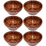 Worthy Set Of 6 Handcraft Wooden Serving Bowl For Salad Snacks , Serving Dishes Bowls, Set Of Decorated Tableware Bowls. - Gift Items