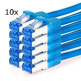 TPFNet (10er PACK) 1m CAT.6A - CAT6A Premium Ethernet LAN Patchkabel SFTP DOPPELT GESCHIRMT 500MHz | Gigabit Netzwerkkabel | LAN-Kabel | RJ45 Kabel | Internetkabel | RJ45 Netzwerk Anschlusskabel | Patch Kabel | Ethernet Kabel mit Knickschutztülle, 10 Gigabit blau (RJ45, Cat 6A, Twisted Pair, S/FTP (PIMF) DOPPELT GESCHIRMT, CAT.6A - CAT6A EIA/TIA, Class EA, halogenfrei, 10 Gigabit/s)