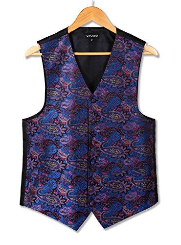 hisdern Herren Paisley Jacquard Weste Weste Set Schneeanzug Mehrfarbig - Purple/ Blue