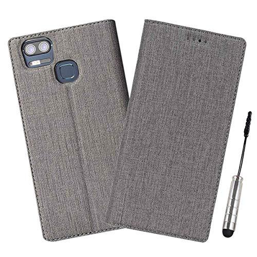 Ycloud Geschäft PU Leder Tasche für ASUS ZenFone 3 Zoom ZE553KL (5.5 Zoll) Wallet Flipcase mit Standfunktion Kartenfächer Entwurf Grau Leinen Stil Hülle