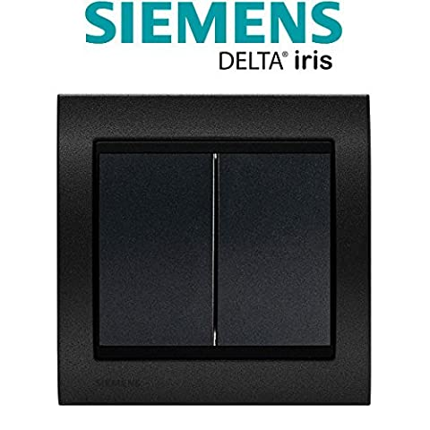 Siemens - Double Poussoir Anthracite Delta Iris + Plaque Métal texturé Alu Noir