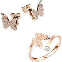 Yellow Chimes Charming Dual Butterfly Surgical Steel 18K Real Rose Gold Plated Jewellery Set's for Women & Girls