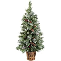 WeRChristmas Scandinavian Blue Spruce Christmas Tree with Pine Cones and Berries in a Gold Resin Pot, 3 feet - Green