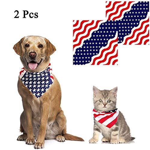 ASOCEA Halstuch, für Hunde und Katzen, Dreieck, mit Flaggenmuster, für mittelgroße und große Hunde, 2 Stück
