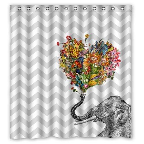 CHATAE 66x 72Happy Elefant Art in grau und weiß Chevron Badezimmer Duschvorhang mit Ringen, Polyester