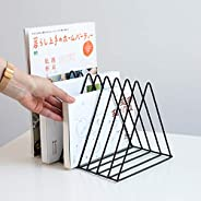 Sooyee Black Magazine Rack Book Record Holder, Desktop Iron Storage Rack Bookshelf Multifunction Triangle File