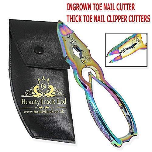 BeautyTrack - Nagelzange für starke Fußnägel - gebogene Schneide - doppelt Frühling Rostfreier Stahl - Gesamtlänge 16 cm - Sicherheitsbeutel