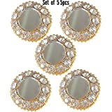 Paushak Boutique Golden Mirror with Stone Buttons (Set of 5)