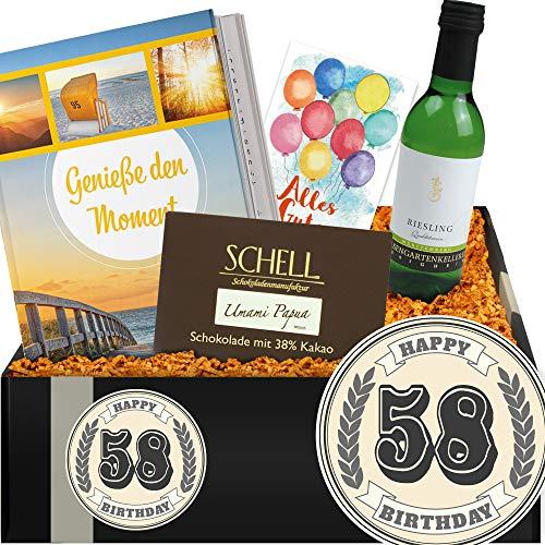 Geschenkidee 58. Geburtstag | Geschenkset mit Weißwein | Geschenke zum 58 ten