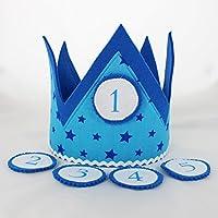 Geburtstagskrone mit Wechselbutton - Modell: Blau mit Sternen | Kinder-Geburtstags-Krone für Jungs und Mädchen | Kindergeburtstag Geburtstagskind - 100% Handarbeit