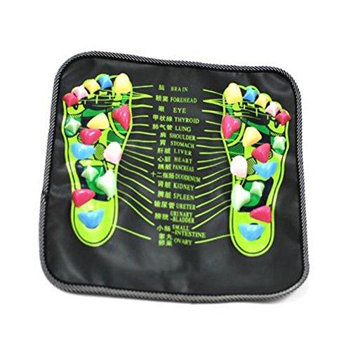 ULTNICE Fuß Massage Matte Fussreflexzonen Stein Akupressur Massage Fußmatte für Fußpflege Gesundheits (Schwarz)