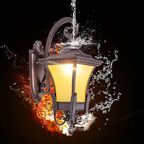 Modeen Weinlese-Glaswand-Laternen-Licht-Garten-LED im Freien beleuchtet viktorianische Trainer-Laterne Aluminiumwand-Lampe im Freien Traditionelle Leuchten-Landhaus-Korridor-Gang der E27 - Traditionelle Trainer