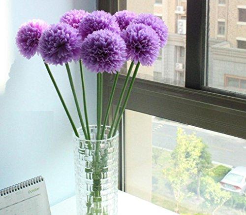 Longra Wohnaccessoires & Deko Kunstblumen 5pcs Lavendel Ball künstliche Seide Blumen Blumenstrauß Home Hochzeit Party Dekoration Künstliche Fake Blume (purple)