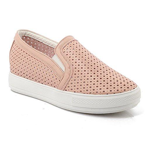AgooLar Damen Niedriger Absatz Rein Ziehen Auf Rund Zehe Pumps Schuhe Pink