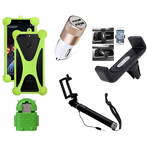 Casotec 5 in 1 Combo offer Car Mount Holder / Mobile Cover / Selfie Stick Monopod / Car Charger / OTG for Motorola Moto Z Play