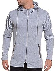 BLZ jeans - Gilet street homme long gris uni à capuche