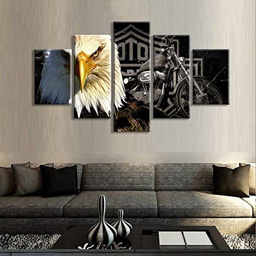 Leinwanddrucke 5 Stück Wandkunst Harley-Davidson Poster Bilder Für Hauptdekor Dekoration Geschenk N'inclut pas le Cadre,A,10x15*210x20*210x25*1 (Radierung, Bilder)