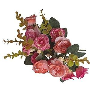 1 Manojo 18 de Cabeza Rosas Ramo Flores Artificiales Decoración Boda Fiesta Hogar – Rojo Rosa