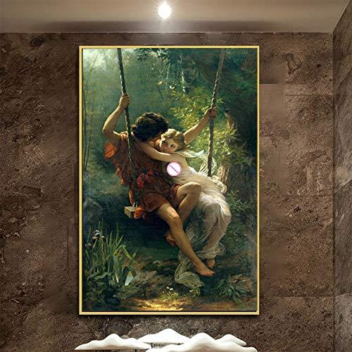 Leinwand-reproduktion, Leinwanddruck (QIAISHI Vintage Spring Swing Ölgemälde Reproduktion auf Leinwand Poster drucken Wandbild für Wohnzimmer)