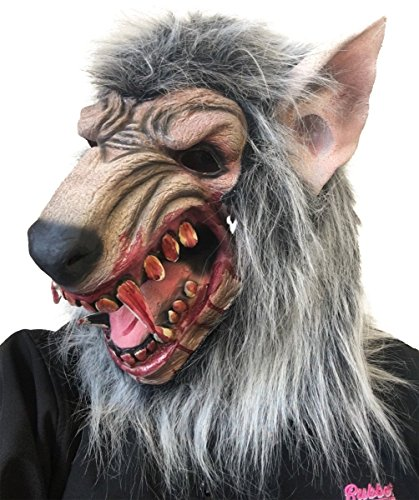 Rubber Johnnies Werwolf-Maske mit blauem Werwolf, Halloween, Horror, graues Fell (Graue Werwolf Maske)