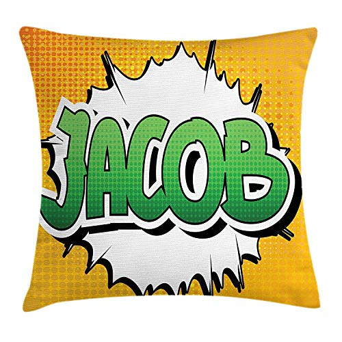 VTXWL Jacob Throw Pillow Cushion Cover, Personal Male Name in Green Shades on Comic Explosion Burst Effect, Decorative Square Accent Pillow Case, 18 X 18 inches, Marigold Green and White