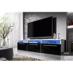 Lavello - Mueble TV / Mesa para TV (150 cm, Blanco Mate / Negro Brillo con Iluminación LED Azul)