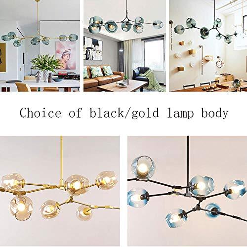 Moderne led pendelleuchte molekular lampe anhänger decke kleidung dekor glaskugel lampe wohnzimmer schlafzimmer esszimmer leuchte, cognac, 9 kopf, gold körper - Neun Light Cognac