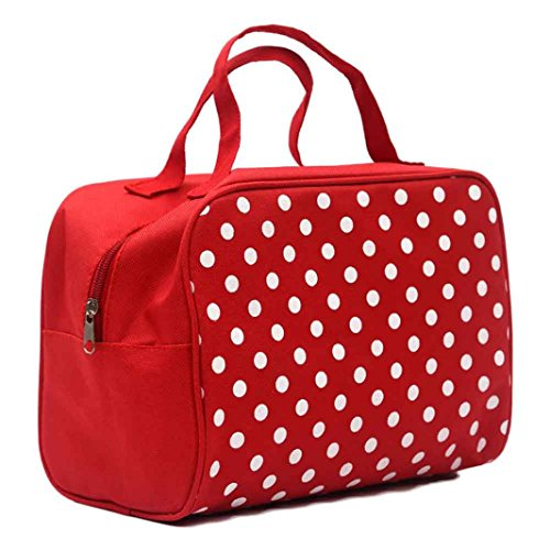 feiXIANG Tragbar Kosmetiktasche Premium Kosmetiktasche Extra großer Reise Organizer für Damen Make up Kulturtasche (rot)