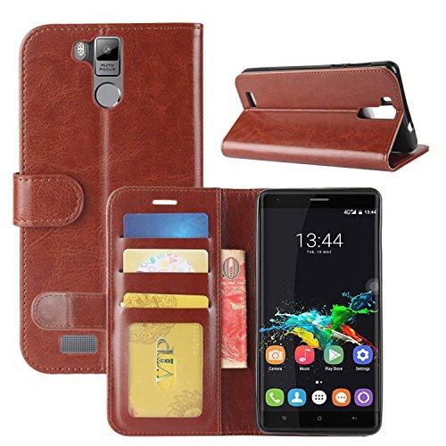 HualuBro Oukitel K6000 Pro Hülle, Retro PU Leder Leather Wallet HandyHülle Tasche Schutzhülle Flip Case Cover für Oukitel K6000 Pro Smartphone - Braun