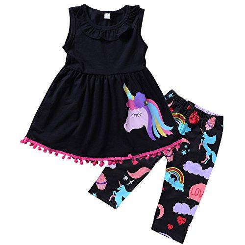 Kleinkind Mädchen Kleidung Set Einhorn Ärmellos Quaste Shirt Kleid & Cropped Pants (Schwarz, 2 - Shorts Pom Mädchen Pom