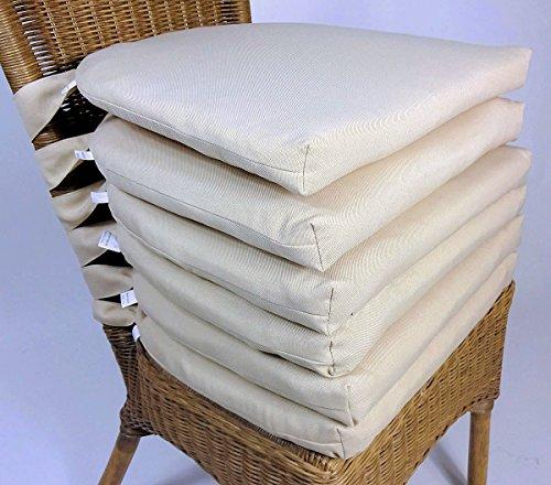 Set 6 x Stuhlkissen / Sitzkissen Marina II mit Schleife 42 x 45 cm Dicke 5 cm , Fb. beige , Polyester