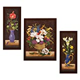 #9: 3 PC SET OF FLORAL PAINTINGS WITHOUT GLASS 5.2 X 12.5, 9.5 X 12.5, 5.2 X 12.5 INCH