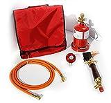 PROFI Dachdecker Lötkolben-Set / Weichlötgarnitur mit Lötkolben, Kleinstflasche, Gasschlauch, Druckminderer, Tasche (Lötset, Lötbedarf, Kleinstflasche)