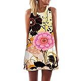 TUDUZ Damen Sommer Vintage Boho Ärmelloses Sommerstrand Gedruckt Kurzes Minikleid Blumenkleid T-Shirt Tops Kleider-Faschingskostüme (Gelb-S, S)