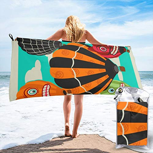 Fun Life Art Fast Quick Dry Towel,Sports & Beach Towel.Halloween Hot Air Balloons Suitable for Camping, Gym, Yoga,Swimming,Travel,Hiking,Backpacking. (Black Cat Clip Art Halloween)