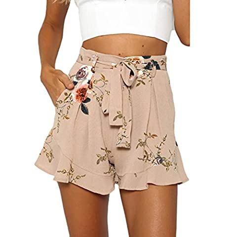 Kingko® New Women's Pleated Falbala Ultra-wide-leg Lace-up Shorts Floral Printed High Waisted Summer Skirt Pants (L, Khaki)
