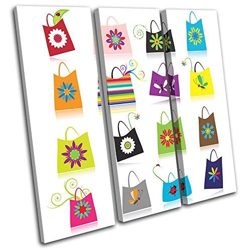 Floral Purse Bag (Bold Bloc Design - Floral Hand Bag Purse Fashion 120x120cm TREBLE Leinwand Kunstdruck Box gerahmte Bild Wand hangen - handgefertigt In Grossbritannien - gerahmt und bereit zum Aufhangen - Canvas Art Print)
