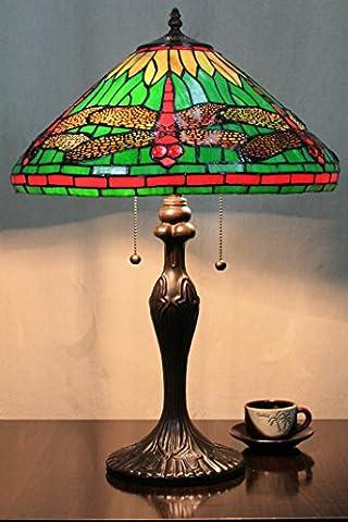 16 Zoll Grüne Libelle Vintage-Pastoral Luxus Europäische Tiffany Tischlampe Schreibtischlampe Nachttischlampe