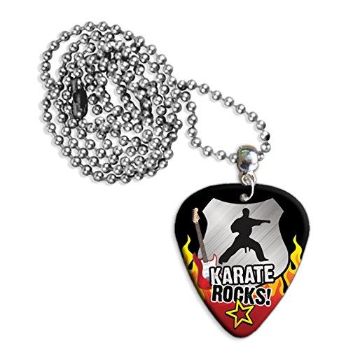 Karate Rocks Guitar Pick Collana Necklace Plectrum Chain (R1)