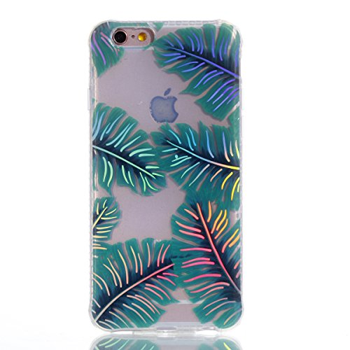 iPhone 6/6S (4.7 inch) Miroir Cover Case,iPhone 6/6S (4.7 inch) Case Glitter,Hpory Beau élégant Luxury Ultra Thin Soft TPU Gel Silicone Cristal Clair Bling Brillant Miroir Placage Ours Bling Glitter R Feuilles de banane