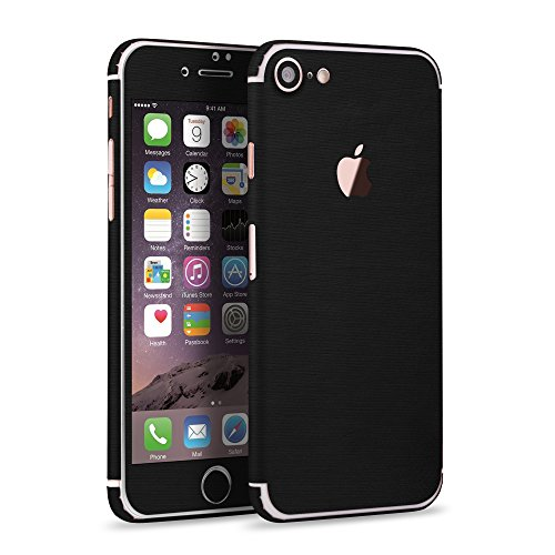 Apple iPhone 7 360° brushed Alu Style Folie rundum Schutz Glamour Sticker Shining Skin in schwarz von PhoneStar